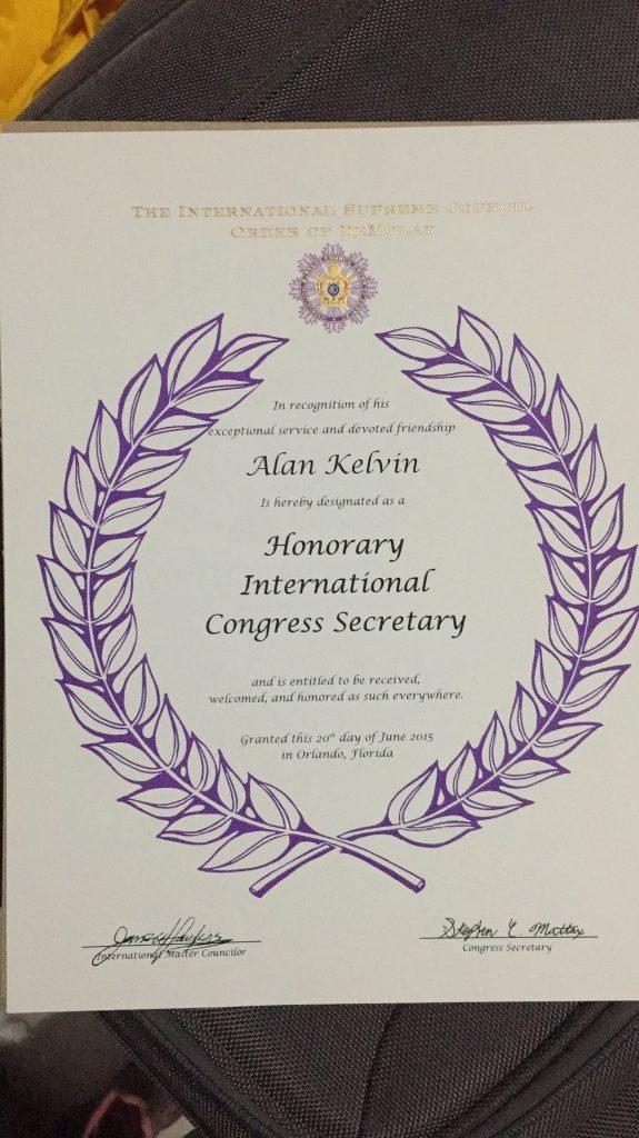 Certificado de Secretário do Congresso Internacional